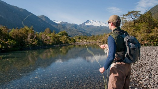 Fly fishing high in the Patagonian Andes of Chile.