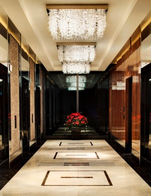The Darling's lobby is huge, dominated by black and white marble.