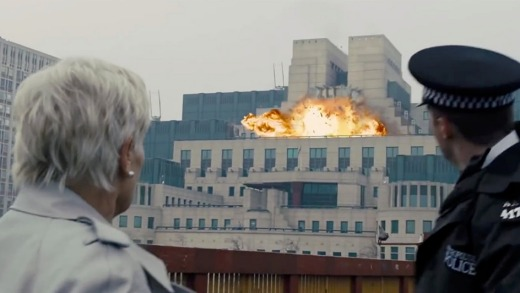The MI6 buidling is blown up in <i>Skyfall</i>.