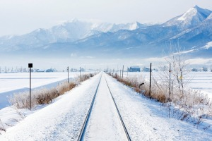 A railroad through Hokkaido, Japan's most northern main island.