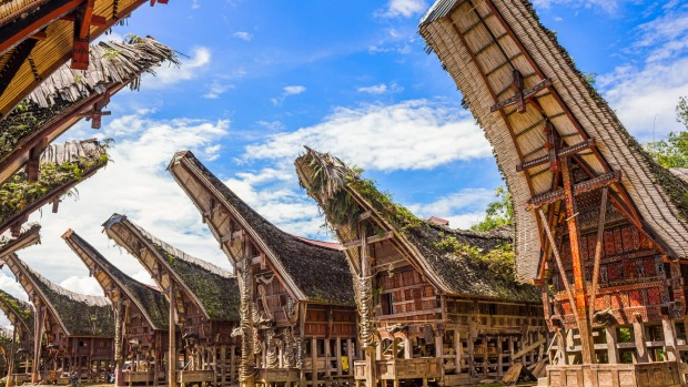 The traditional ancestral houses of the Torajan people, Tana Toraja Regency in South Sulawesi, Indonesia.