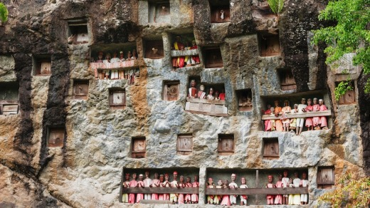 Lemo - an old burial site in Tana Toraja. Galleries of tau-tau guard the graves in South Sulawesi, Indonesia.