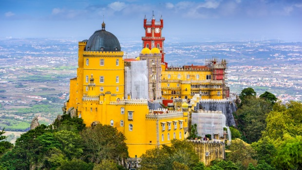 Pena National Palace in Sintra, Portugal is a UNESCO World Heritage Site.