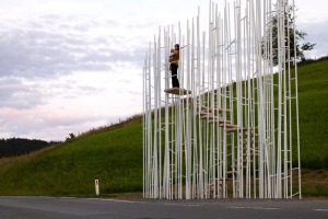 The Bus:Stop project of Krumbach, Vorarlberg, Austria, has some works that resemble sculptures.