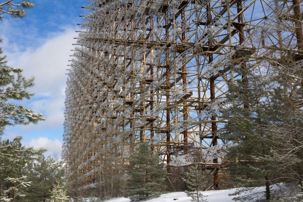 Chernobyl Moscow Eye called Duga 3 or Chernobyl 2 is the old Soviet military radar located near Pripyat village. Ukraine.