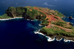 An aerial view of Phillip Island, near Norfolk Island.