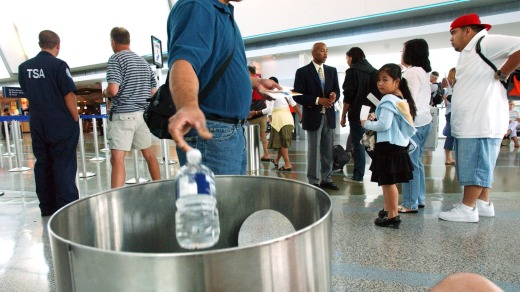 Liquids are allowed on domestic flights, but not on international ones.
