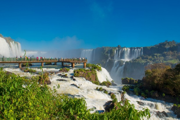 THE DEVIL'S THROAT, IGUAZU FALLS, ARGENTINA/BRAZIL- On the border between Argentina and Brazil, stretching for 2.7 ...
