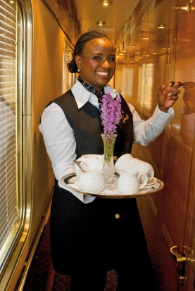 Each carriage has its own butler.
