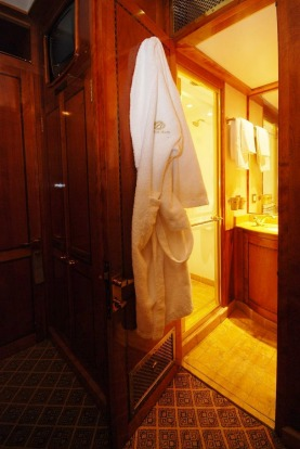 The bathrooms are spacious by train standards. Some even have baths.