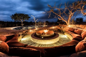 The fire pit at Earth Lodge.