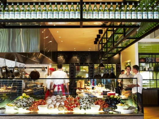 Bazaar is open for a substantial dinner that features fresh fish of the day.
