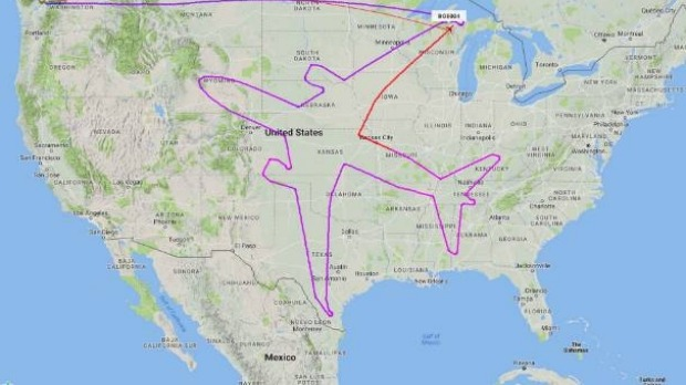 A Boeing Dreamliner 787-8 has traced its own outline over the United States using its flight path.