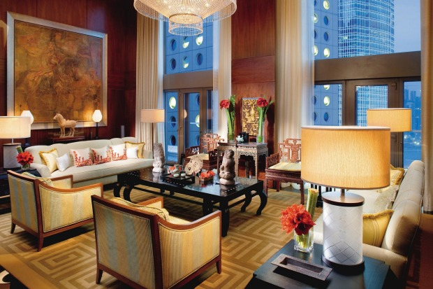 The living room of a Mandarin Suite. The 501-room Mandarin Oriental has been emblematic of Hong Kong glamour since 1963.