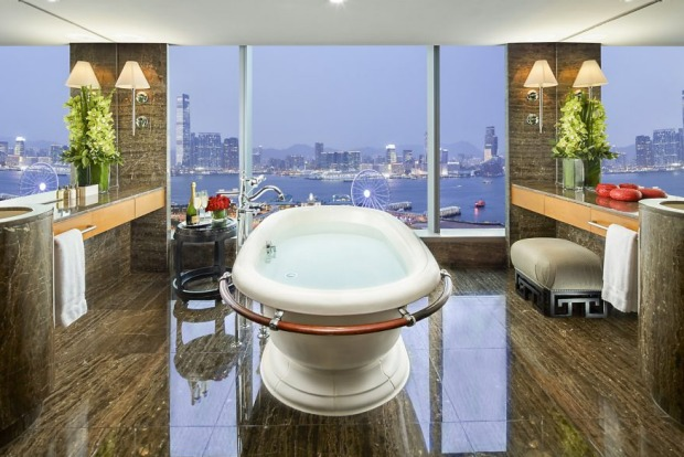 The high life: The bathroom of a Harbour View Suite at the Mandarin Oriental, Hong Kong.