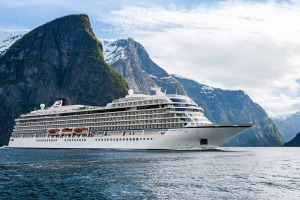Viking Star cruises through the fjords near Flam, Norway.