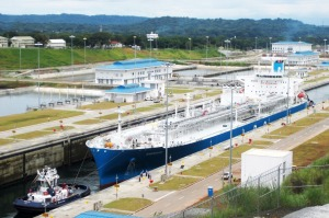 It takes a ship about three hours to pass through the three lock chambers of the Panama Canal.