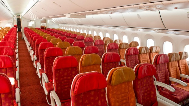 Air India 78-8 Dreamliner economy cabin.