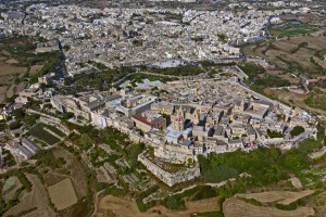 Aerial view over Mdina.