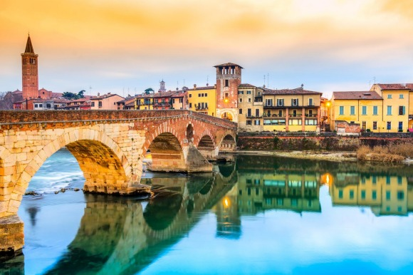 The Adige River and Ponte di Pietra in Verona, Italy.
