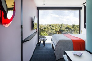 Tribe Hotel, Perth. The rooms are compact but well-designed.