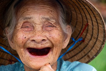 89 years of age but still laughing at the silly man behind the camera.