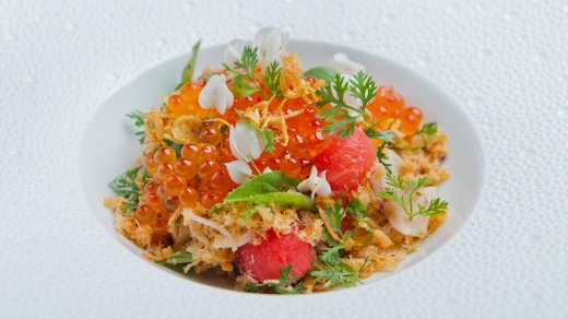 Watermelon and ground salmon floss at Paste Restaurant.