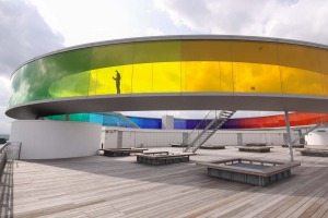 The Aros Aarhus Kunstmuseum in Aarhus, Denmark, is one of the largest art museums in northern Europe.