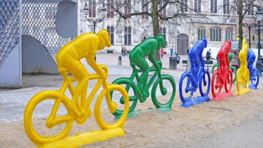 Colourful polyester riders created by Erik Nagels in Bruges.
