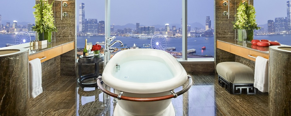 The bathroom of a Harbour View Suite at the Mandarin Oriental, Hong Kong.