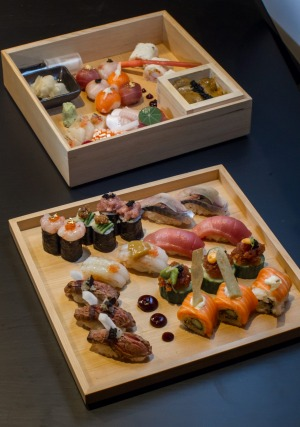 A deluxe sushi box served at Kisume Japanese restaurant.