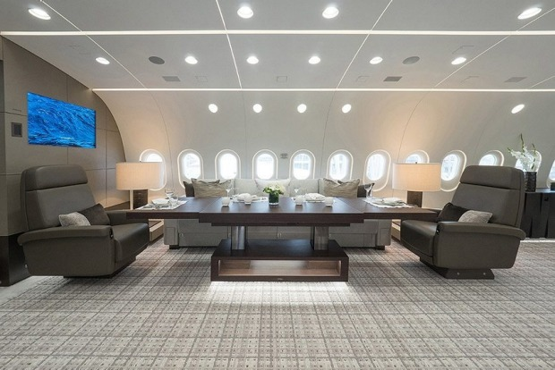 On board the private Boeing Dreamliner, the BBJ 787 VVIP.
