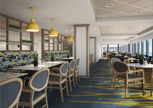 Relax and comfy: The Garden Cafe on Norwegian Bliss.