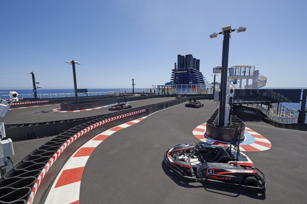 Need for speed: The go-cart track in on the top deck of Norwegian Bliss.