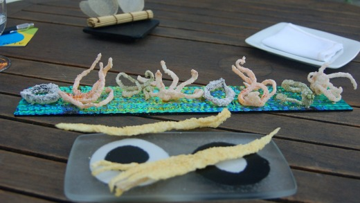 Deep-fried salmon skin and mock sea creatures made of rice flour at El Bulli, in Spain.