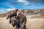 Mongolia, October 2016, just day before the famous Eagle Festival Saliukhan is practicing the ancient art of hunting ...