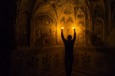 At Agra Fort, India, it is possible to have a guided tour of the Emperor's inner sanctum where thousands of small ...
