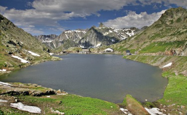 This is the view that greets you at the top of the Great Saint Bernard pass. The pass is only open from June to ...