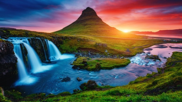 The gorgeous Kirkjufellsfoss waterfall in Iceland.