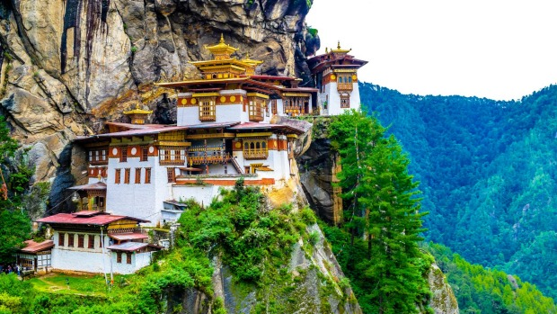 TIGER'S NEST, BHUTAN Lodged on a cliff side in the Paro Valley, the Paro Taktsang complex is an important sacred site ...
