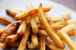 DFJ4RN golden crispy french fries with salt and herbs