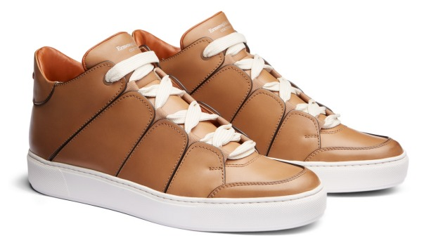 These high-top Ermengildo Zegna Tiziano sneakers in smooth calfskin have an extra-light white rubber sole.