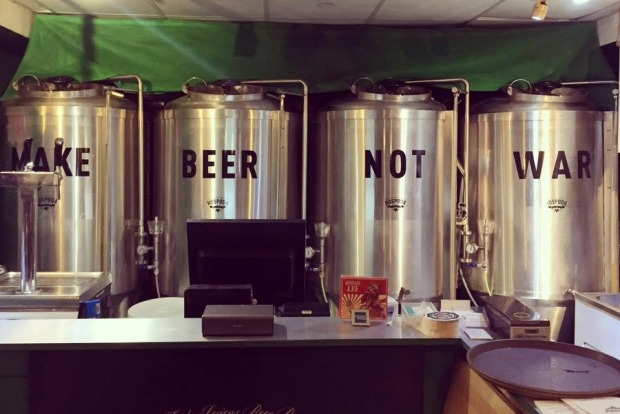 """A blink and you'll miss it establishment befitting the genre """"micro"""" brewery, Hospoda is little more than a ..."""