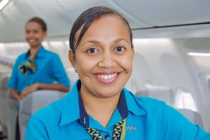 Service with a broad smile.