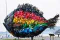 """The """"Chinu, Black Sea Bream of Uno"""", an installation art produced by Yodogawa Technique of Japan is displayed at Uno ..."""