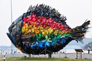 "The ""Chinu, Black Sea Bream of Uno"", an installation art produced by Yodogawa Technique of Japan is displayed at Uno ..."