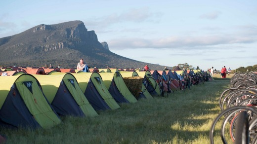 Camping on the Dunkeld Racecourse. Mount Abrupt overlooks the site.