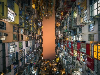 Close Quarters - tightly packed apartment living in Hong Kong. Apartments packed so close together you could almost ...