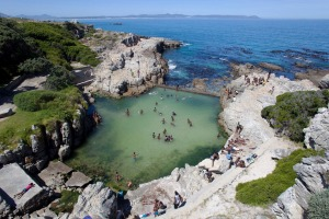Bathers in Fick's Pool, Hermanus.