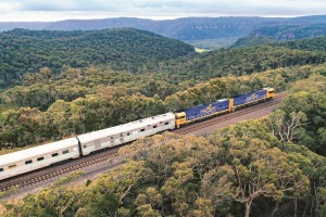 The Indian Pacific travelling through the Blue Mountains.